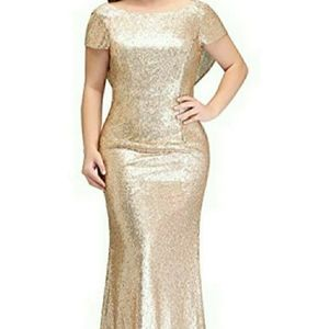 For You Dress Gold Sequin Long Gown Dress Draped